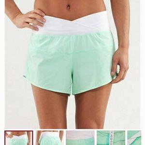 Lululemon mint green Run Pace shorts, 8